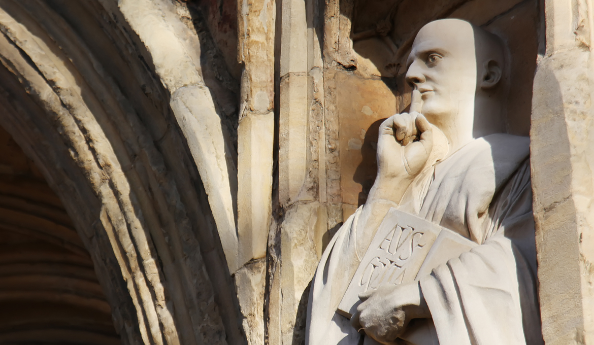 A picture of the Statue of St Benedict at Norwich Cathedral