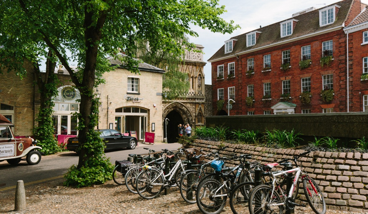 A picture of bikes parked outside the cathedral close