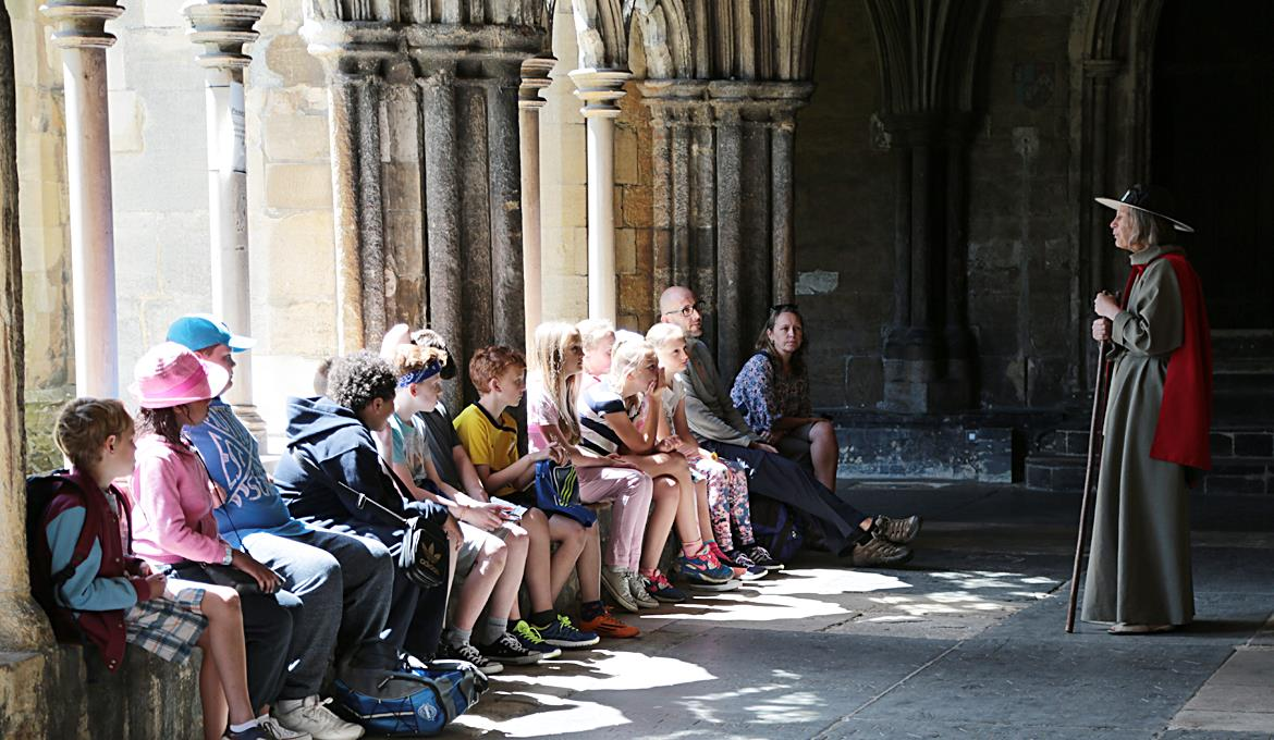 A picture of a group of young people learning about the Cathedral