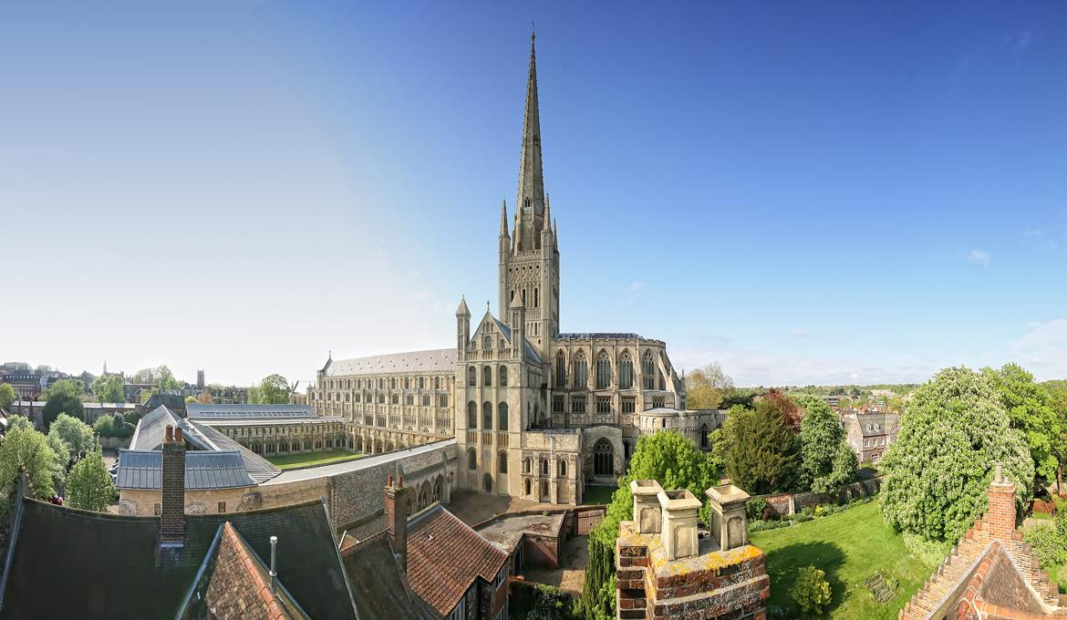 A picture of Norwich Cathedral taken from the Deanery roof