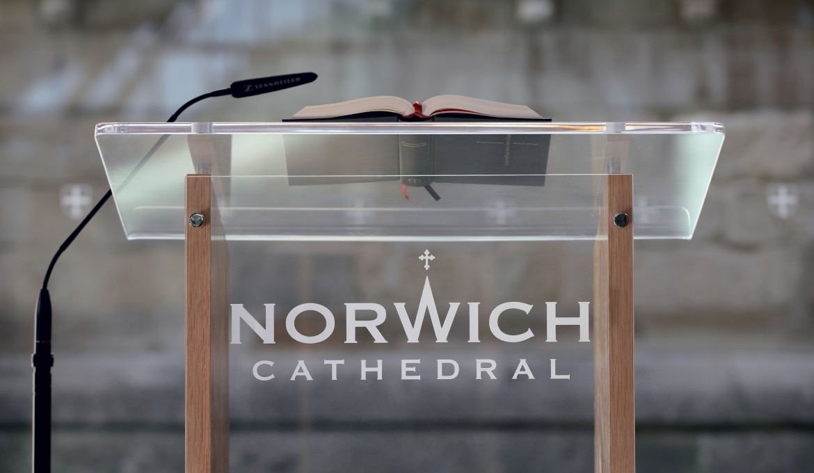 A picture of a lectern at the Norwich Cathedral