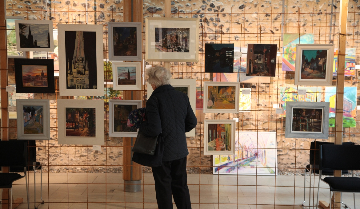 A picture of the Paint Out Norwich exhibition at the Hostry