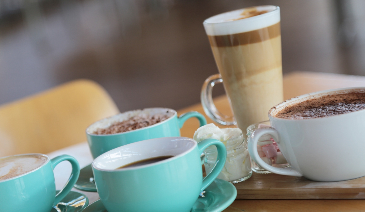 A picture of hot drinks at the Refectory Cafe