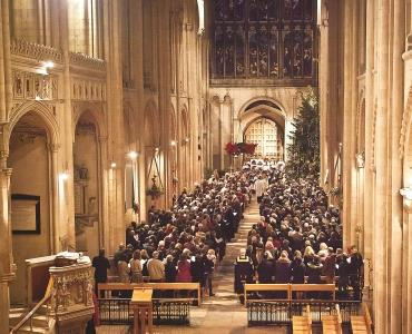 A picture of a Christmas service in the Cathedral Nave