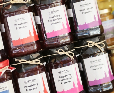 A selection of jams and preserves on display at the Gift Shop