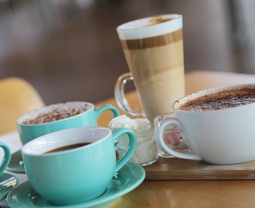 A picture of coffee and hot chocolate at the Refectory café