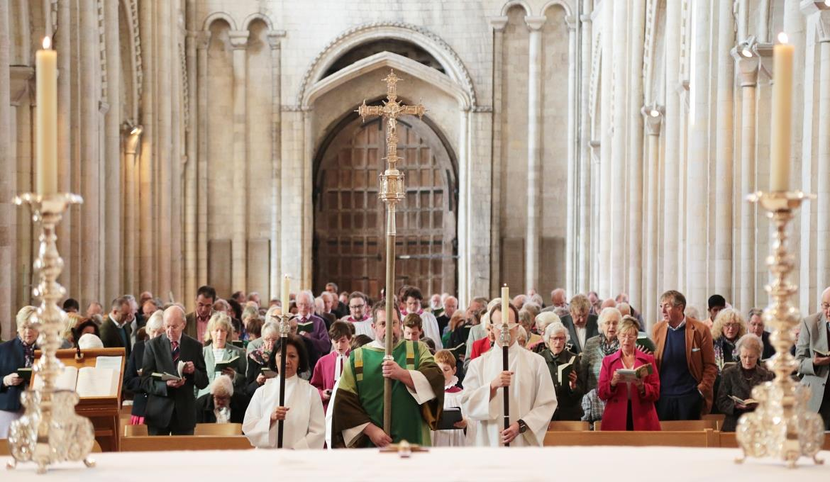 A picture of a service taking place at Norwich Cathedral
