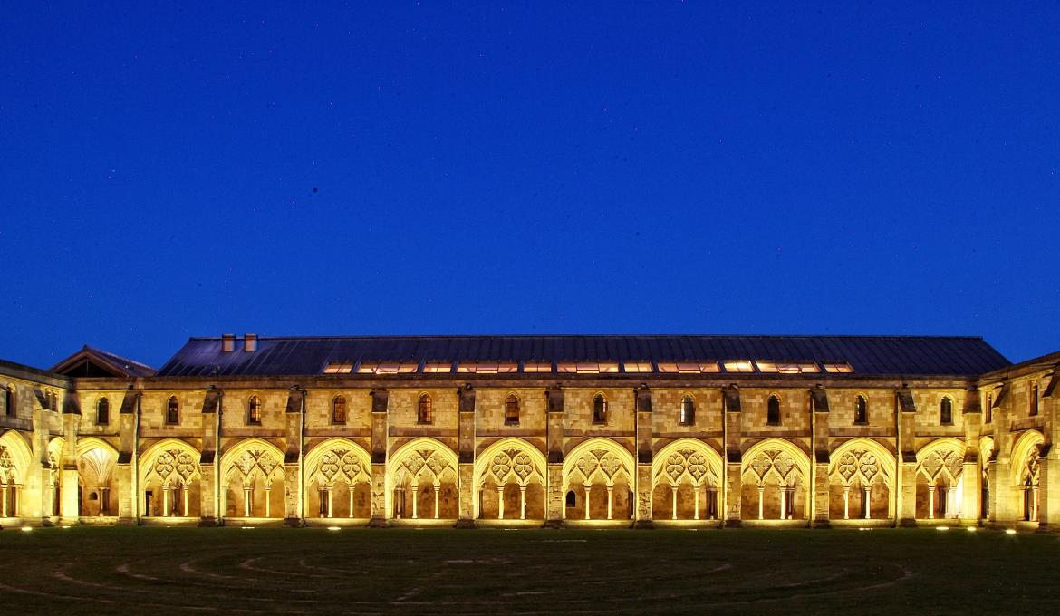 The cloisters illuminated at evening