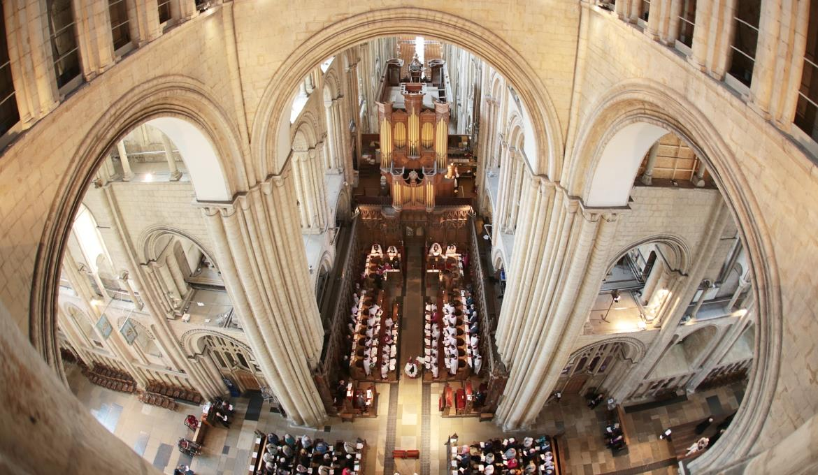 A picture of a view of the choir stalls from the Clerestory